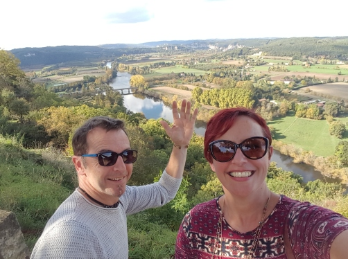 The Dordogne river flowing below us.